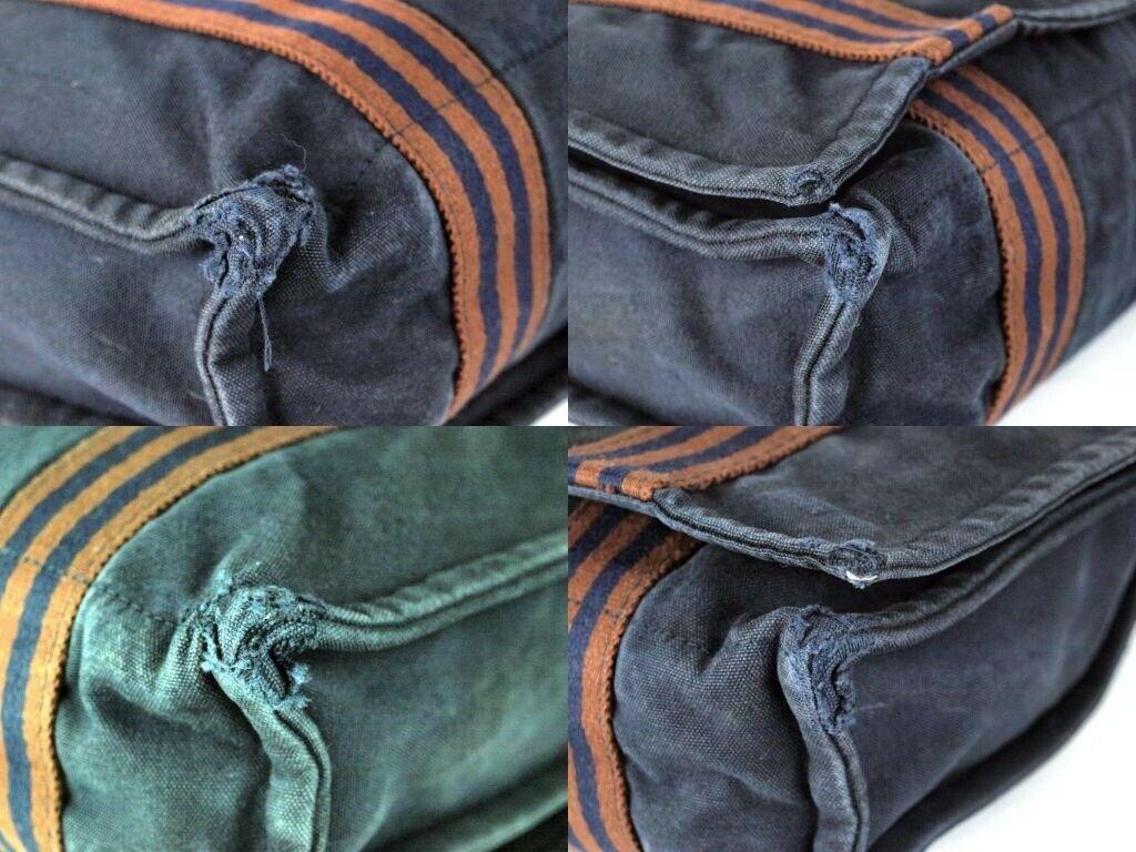 Auth Hermes Fool Toe Vassus MM Navy Cotton Canvas Shoulder Bag Purse France Used image 10