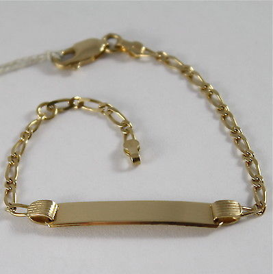 BRACCIALE IN ORO GIALLO 750 18K CON PIASTRA PER INCISIONE, MADE IN ITALY