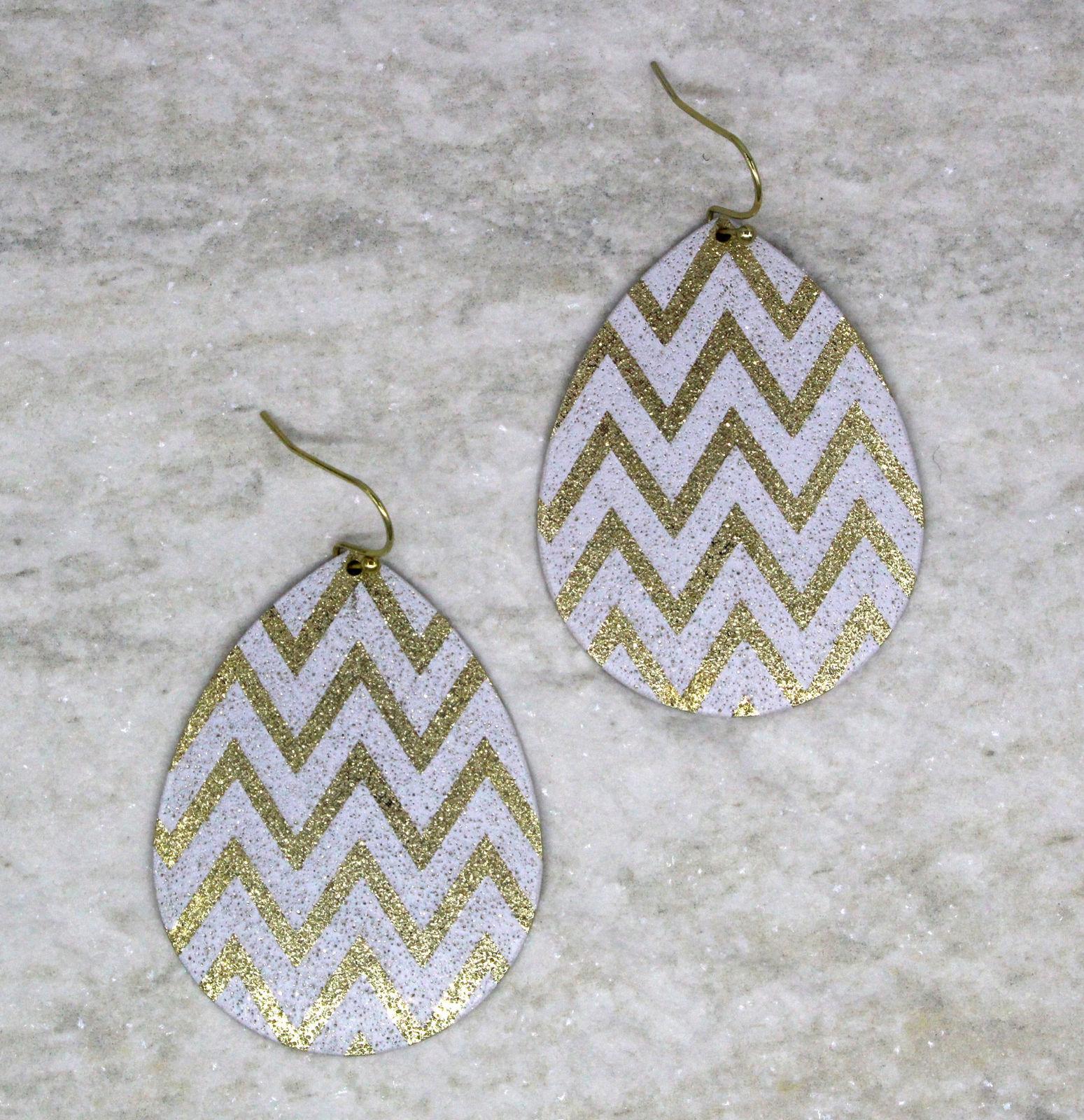 Women new gold white glitter tear drop hook pierced earrings