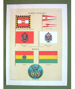 FLAGS Austria Hungary Bolivia Admiral Honor Coat of Arms- 1899 Color Lit... - $16.20