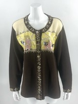 Storybook Knits Cardigan Sweater Size Large Brown Yellow Angels Sequin W... - $44.55