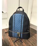 NWT Michael Kors Rhea Zip Medium Backpack Denim Multi  - $121.54