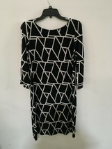 SANDRA DARREN WOMENS BLACK AND WHITE LONGSLEEVE DRESS SZ 10 - $18.99