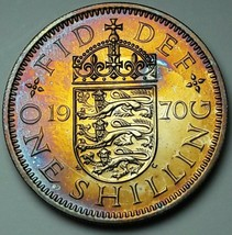 1970 UNITED KINGDOM 1 SHILLING PROOF INTENSE COLORING UNC TONED APPEAL (MR) - $197.99