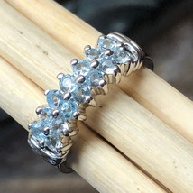 AAA Natural Blue Aquamarine 925 Solid Sterling Silver Half Band Ring sz 7 - $197.99