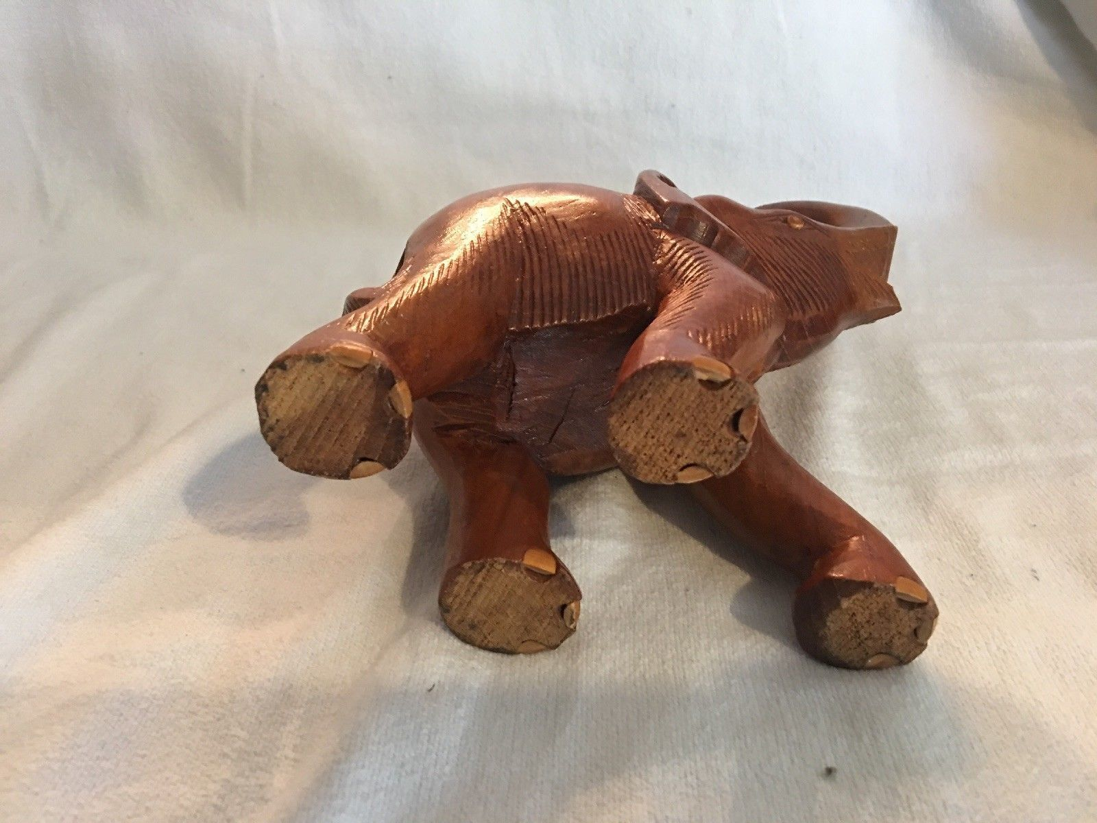 Handmade Wood Hand Carved Elephant Home Made Wooden Carving African Elephant