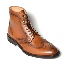Handmade mens Tan brown wing tip brogue ankle lace up bots, Men ankle boots - $189.99
