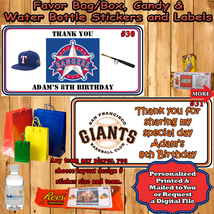 Baseball MLB Birthday Favor Sticker Water Bottle Label 1 Sheet Personalized - $5.50