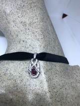 Vintage Pink Ruby 925 Sterling Silver Pendant Choker Necklace - $64.35