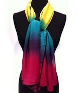2014 New Fashion Silk Viscose Square Scarf Shawl Wrap Rainbow Yellow Blue Pink - $14.95