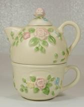 Pfaltzgraff Tea Rose Individual Teapot & Cup Embossed - $79.99