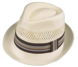 Henschel Soft Braided Straw Stingy Brim Fedora Vented Ribbon Band Natura... - $51.00