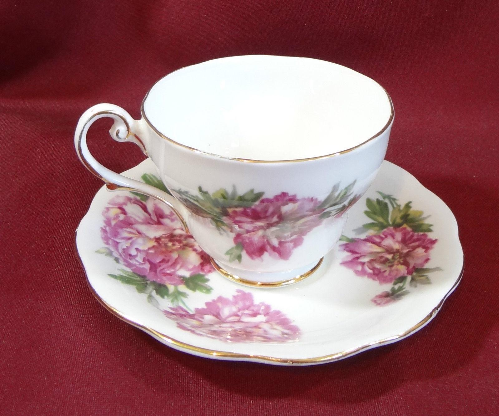 amethyst royal standard fine bone china tea cup saucer england peony gold trim royal standard. Black Bedroom Furniture Sets. Home Design Ideas