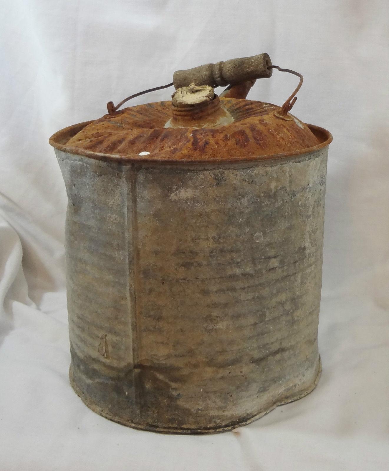 Vintage McClary's Galvanized Metal Gasoline Kerosene Gas Jerry Can Wooden Handle