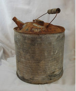 Vintage McClary's Galvanized Metal Gasoline Kerosene Gas Jerry Can Wooden Handle - $14.99