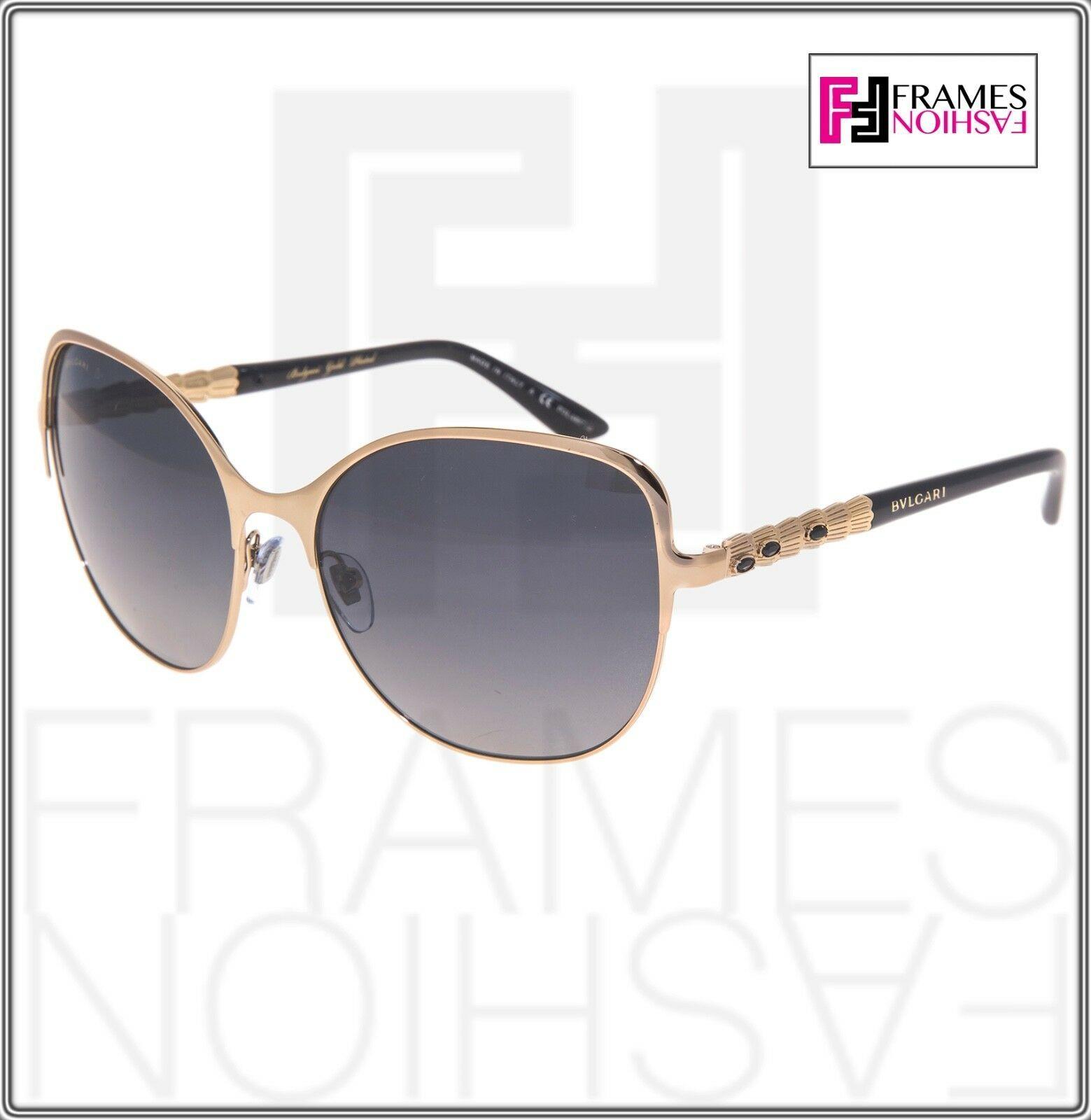 BVLGARI Le Gemme BV6078KB Black Gold 18K Plated POLARIZED Sunglasses 6078 Women image 7