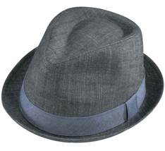 Henschel Cotton Denim Gentleman Fedora Stingy Brim Denim Band Charcoal B... - £38.17 GBP