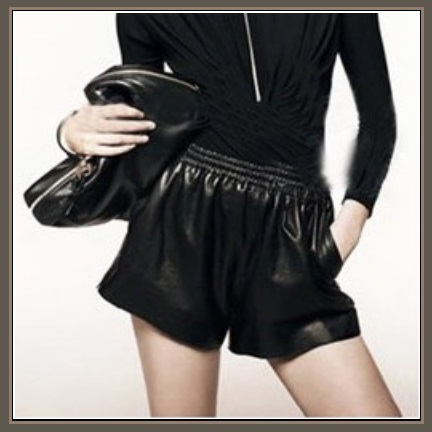 Soft Black Sheepskin Faux Leather Shorts Gathered Elastic Waist and Pockets