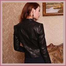 Retro Style Moto Jacket Faux Leather Waist Length Oblique Zip Blue Pink or Black image 2