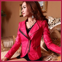Retro Style Moto Jacket Faux Leather Waist Length Oblique Zip Blue Pink or Black image 3