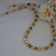 Czech Glass Beaded Necklace With Gold And Brown Colors   FREE SHIPPING - $26.00