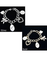 NWT Guess Multi Charms Heart Bling Chain Bracel... - £11.67 GBP