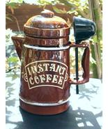 VINTAGE CERAMIC INSTANT COFFEE CANISTER with SC... - $4.49