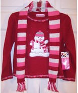 NWT Just Friends Girl's Red Snowman Holiday Christmas Sweater w/ Scarf, ... - $19.99