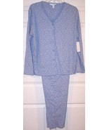 NWT Charter Club 100% Cotton Blue Floral Knit Pajamas Pajama Set, Large - $18.99