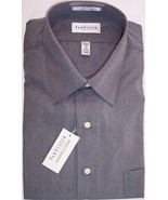 NWT Van Heusen Mens Charcoal Gray End on End Wrinkle Free Dress Shirt 17... - $15.99
