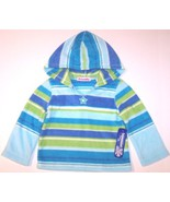 NWT Just Friends Girl's Blue & Green Striped Fleece Hoodie Top, 3T - $8.99