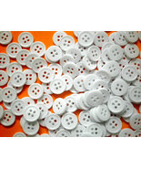 12 mm Bulk / wholesale / Small, Round, White Plastic Buttons Set of 1000 - $16.00