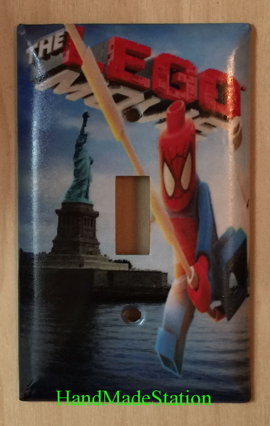 Lego Spiderman in NYC Liberty Light Switch Power Outlet Wall Cover Plate Decor