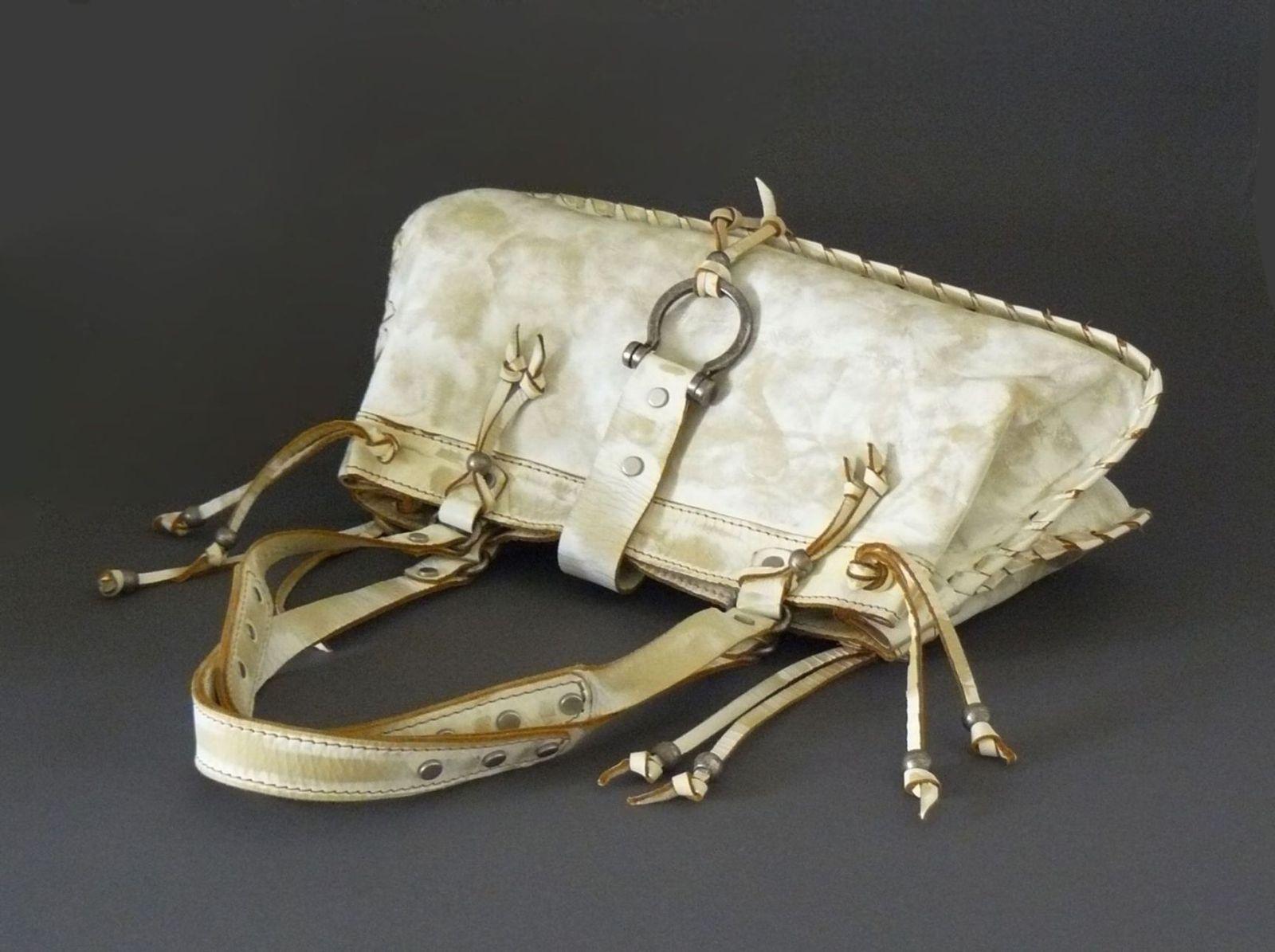 Vin Baker Handmade White Leather Boho Whip Stitched Shoulder Bag Made in USA
