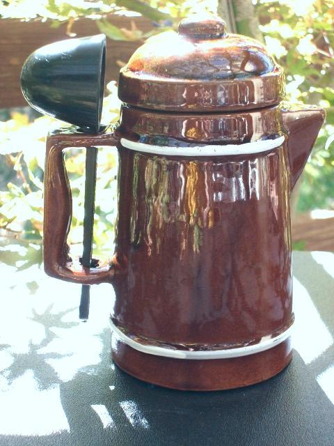 VINTAGE CERAMIC INSTANT COFFEE CANISTER with SCOOP!