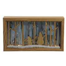 "Diva At Home 10.5"" Lighted Wood Snowmen and Reindeer Shadow Box Christma... - $22.86"