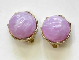 "Elegant Violet Swirly Plastic Gold-tone Clip Earrings 1960s vintage 1"" - $12.30"
