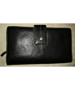 Black leather clutch checkbook wallet pre-owned green interior - $8.00