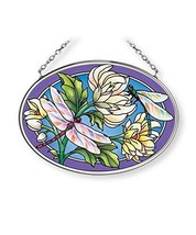 Dragonflies Sun Catcher AMIA Hand Painted Glass 4 1/2 Inch by 3 1/4 Inch... - €15,43 EUR