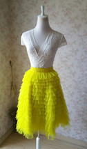 YELLOW Tiered Tulle Skirt Yellow High Waisted Midi Tulle Skirt Tiered Tutu Skirt image 2