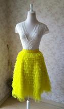 Lemon Yellow Midi Skirt Outfit Yellow Tiered Tulle Skirts Ballerina Tulle Skirt  image 1