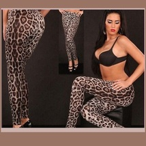 Brown Leopard Skin Tight Stretch Pants Leggings Many Sizes image 2