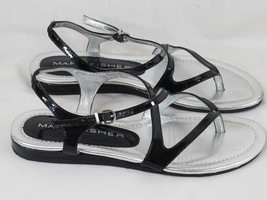 Marc Fisher Black & Silver Open Toe Flip Flops Sandals 6.5 M US Excellent - $24.75