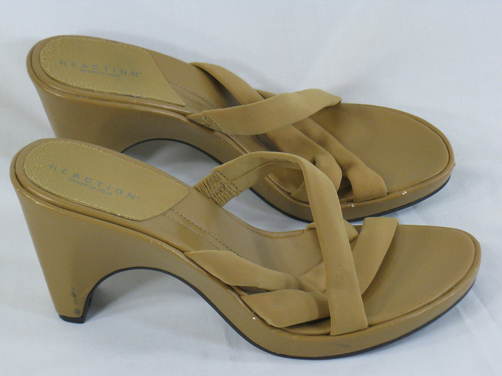 Kenneth Cole Reaction Brown Leather Strappy Chunky Heels 9.5 M US Excellent - $12.56