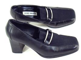 Steve Madden Black Leather Heeled Loafer Shoes 6.5 M US Excellent - $14.85