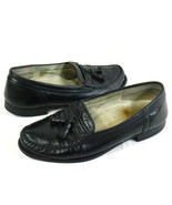 Dack's Black Leather Tassel Loafers EUR 41 Size 8D US Excellent Italy Vi... - $22.65