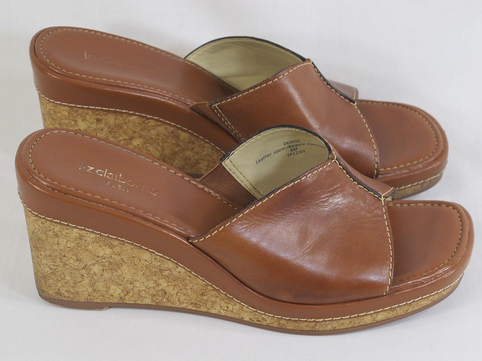 314bcff6941 57. 57. Liz Claiborne Flex Brown Leather Open Toe Wedge Mules 8 M US  Excellent. Liz Claiborne Flex Brown Leather Open ...