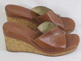 Liz Claiborne Flex Brown Leather Open Toe Wedge Mules 8 M US Excellent - $16.71