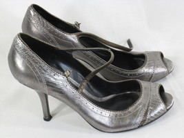 Enzo Angiolini Silver Leather Peep Toe Mary Jane Heels Size 8.5 M US Excellent - $12.87