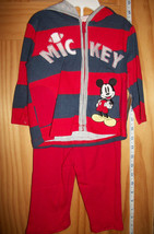 Disney Baby Clothes 6M-9M Mickey Mouse Hoodie Set Red Newborn Sweat Pant... - $14.24
